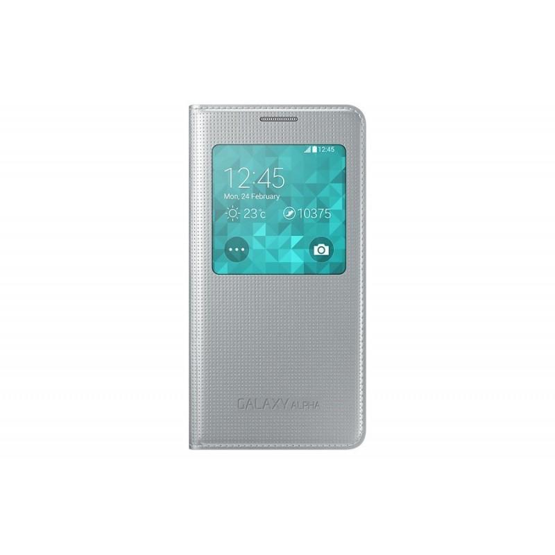 Samsung Galaxy Alpha S View Cover Argento - originale
