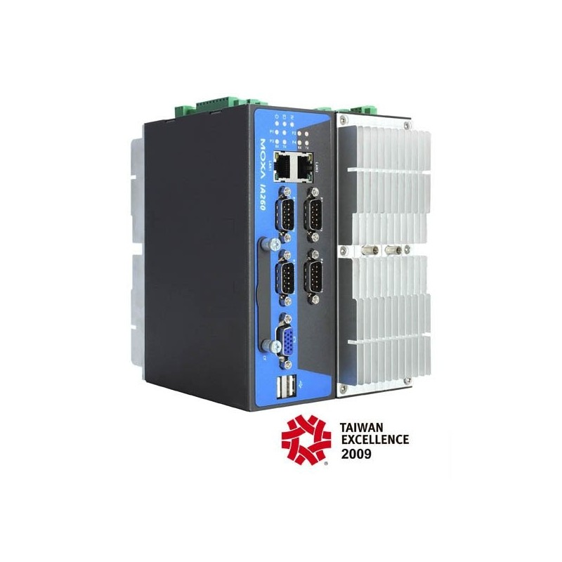 MOXA IA260 RISC-embedded computers with 4 serial ports, dual LANs, VGA, DIOs, CompactFlash, USB