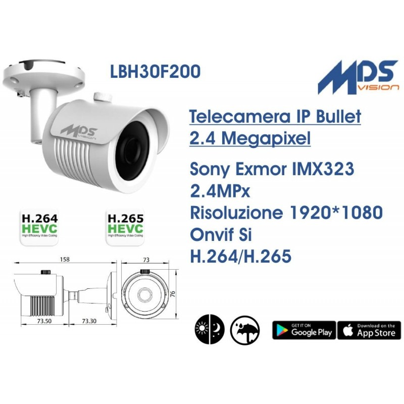 Telecamera IP Bullet 2.4 Megapixel Sony Exmor IMX323 1920x1080 Onvif Day&Night Cod.LBH30F200